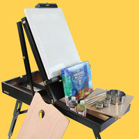 Men's Easel Caballete De Pintura Portable Easel Box for Painting Artist Oil Paint Stand Wood Easel Box Painting Accessories