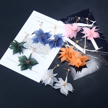Women New Multilayer Petals Crystal Flower Drop Earrings for Jewelry Angel Brincos Lotus Long Tassel