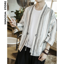 PRIVATHINKER Sinicism Store Cotton Linen Man Summer Striped Kimono Shirts Male