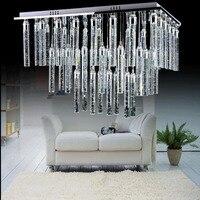 LED bubble column lamp living room lamp rectangular crystal column ceiling long chandelier stainless steel modern simplicity LED
