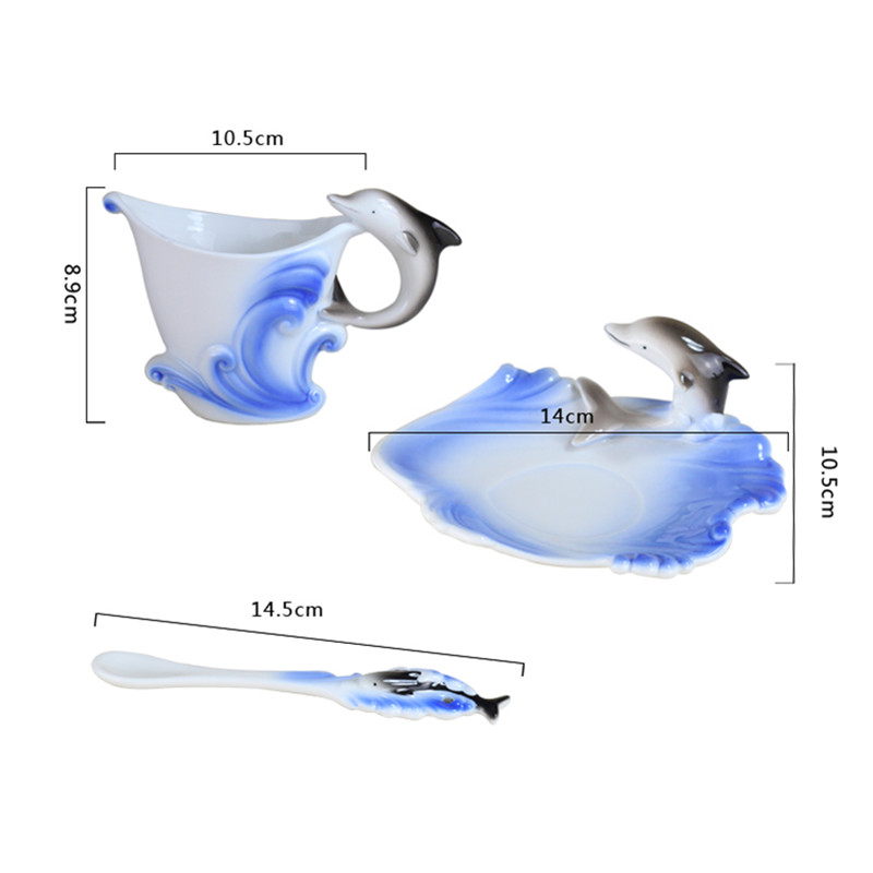 160CC delfin kávé bögrék állítja be a csont porcelán tea - Konyha, étkező és bár - Fénykép 5