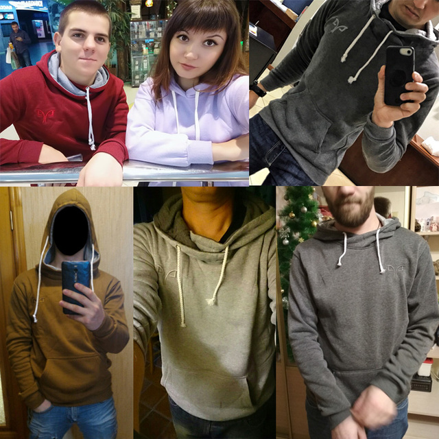 New Turtleneck Hoodies Men Hooded Sweatshirts 5