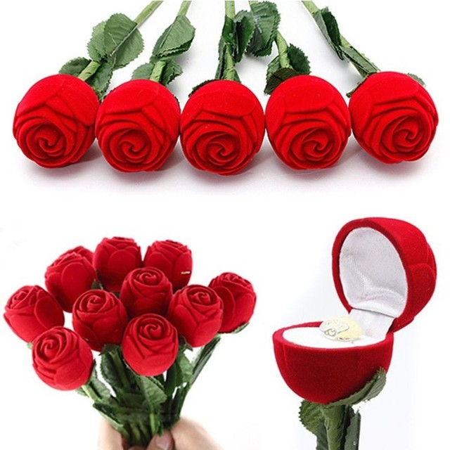 1pc romantic propose ring case for lover red rose shape engagement