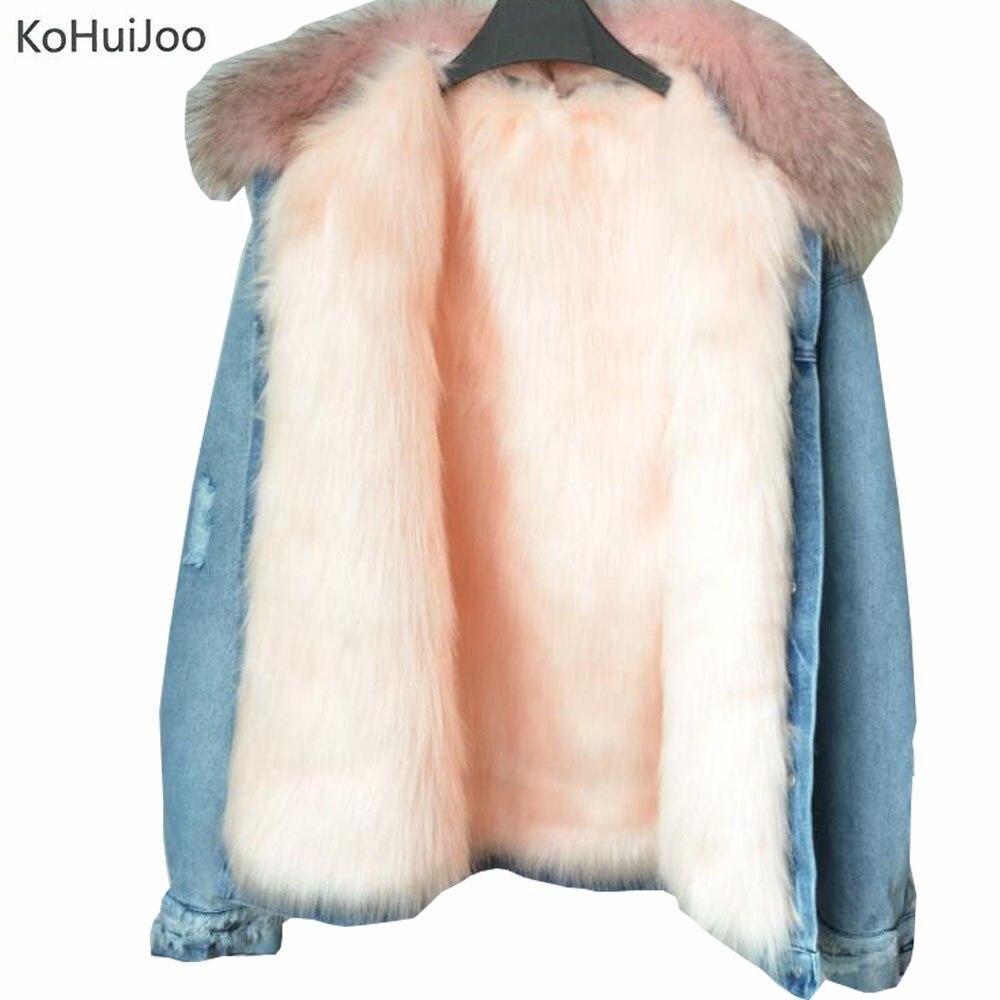 KoHuiJoo Women Winter Warm Denim Jacket with Real Raccoon Fur Collar Fashion Faux Fur Fox Lining jean Coat Long Sleeve Pockets woman 2016fw woman fashion patch bomber jacket with faux fur collar warm qulited lining side pockets