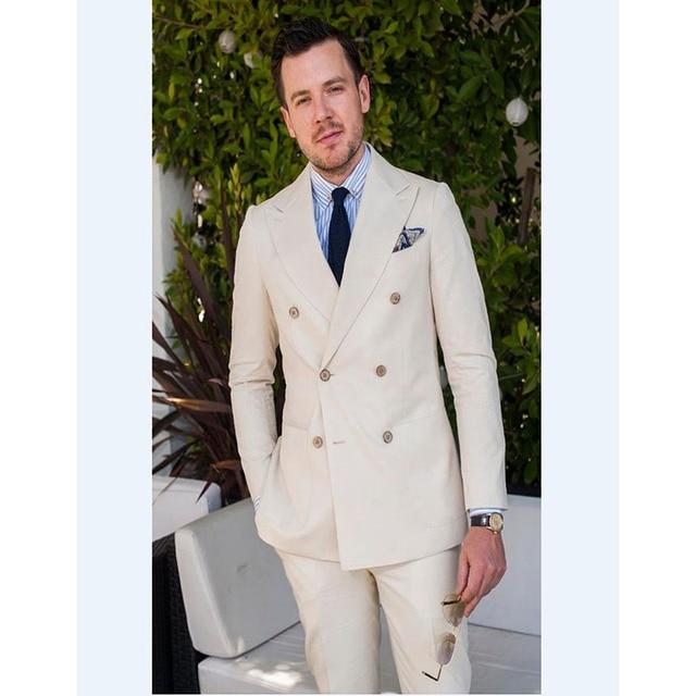 2017 Double Breasted Groomsmen Groom Tuxedos Beige mens suits ...