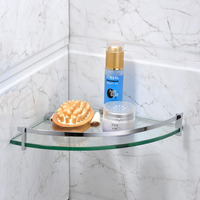 Leyden Chrome 304 Stainless Steel Bathroom Glass Shelf Double Layer Corner Shower Shampoo Soap Cosmetic Storag Bathroom Shelves