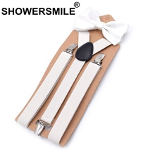 SHOWERSMILE Bow Tie And Suspenders Man Belt For Trouser White Leather 3 Clips Dress Braces Man Wedding Male Pants Strap