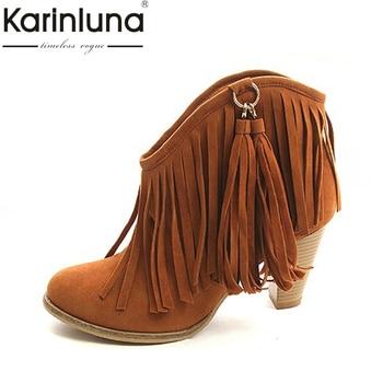 8ad2065c KARINLUNA 2018 gran tamaño 34-43 negro marrón Rosa borlas de la Plataforma  de las mujeres zapatos de mujer Vintage franja zapatos de tacón alto  tobillo ...