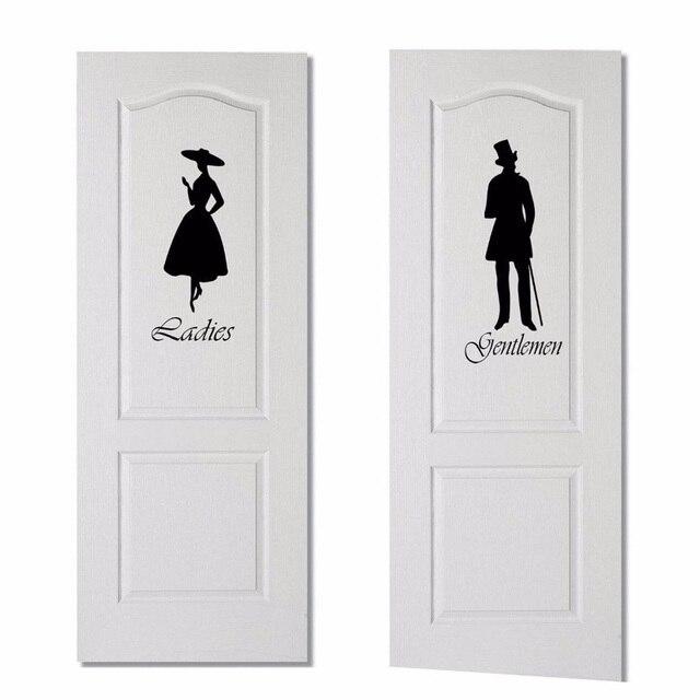 Ladies gentlemen bathroom wc door sticker fashion vinyl wall sticker decals black a0033