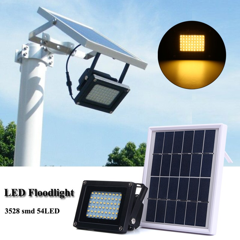 Solar Panel LED Flood Light Waterproof IP65 54 LED Solar Light 3528 SMD Sensor Floodlight Outdoor Garden Security Wall Lamp brelong 15w smd 3528 led panel light