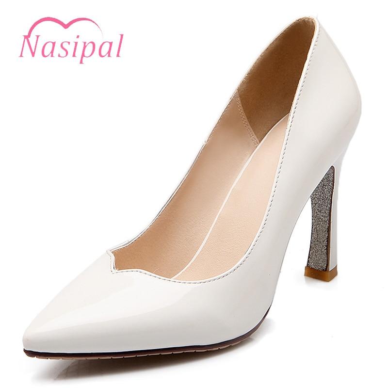 De blanc rouge Verni Hauts Pompes C687 Mujer Nasipal Noir 9 En Chaussures Talons Pointu Robe Bateau Femmes Bout Mariage Cm Cuir Zapatos xR04wqn160