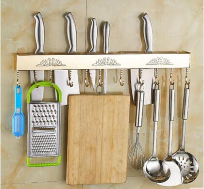 Punch-free kitchen shelves wall space aluminum cutter rack supplies multi-function chopping block hook knife holder knife holder multi function kitchen shelves space aluminum shelf storage organizer kitchen accessories kitchen knife holder