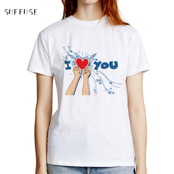 Women Summer T-Shirt Print Text I Love You Modal Fashion White Short Sleeve Casual O-neck Harajuku Tee Tops S-3XL Size image