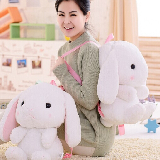 Candice guo plush toy stuffed doll soft cute long ear white rabbit bunny style backpack baby shoulder bag schoolbag package gift 90cm large stuffed plush rabbit toy korea long arms rabbit soft doll super cute