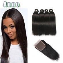 2016 Hot 8a Malaysian Straight Hair With Closure 4 Bundles Jet Black Straight Human Hair With Closure Stema Hair Company