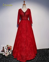 Loverxu Gorgeous Appliques Long Sleeve A-Line Long Evening Dress 2017 V-neck Beaded Red Lace Party Gown Robe De Soiree Plus Size