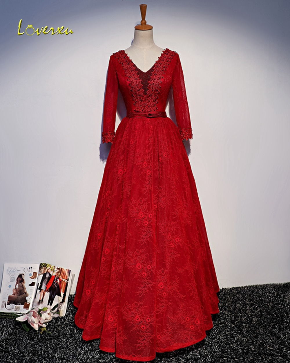 Loverxu Gorgeous Appliques Long Sleeve A-Line Long   Evening     Dress   2019 V-neck Beaded Red Lace Party Gown Robe De Soiree Plus Size