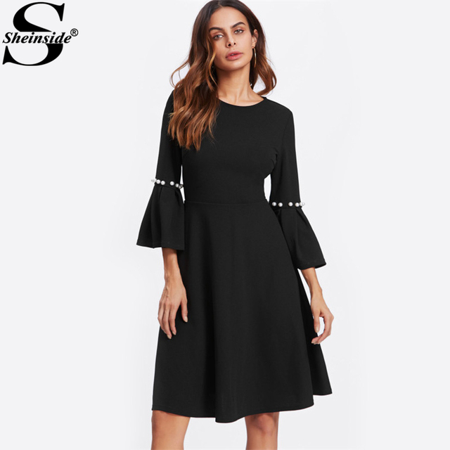 Sheinside Pearl Beading Flare Sleeve Dress Women Round Neck 3/4 Sleeve Knee Length A Line Dress 2017 Elegant Winter Dresses