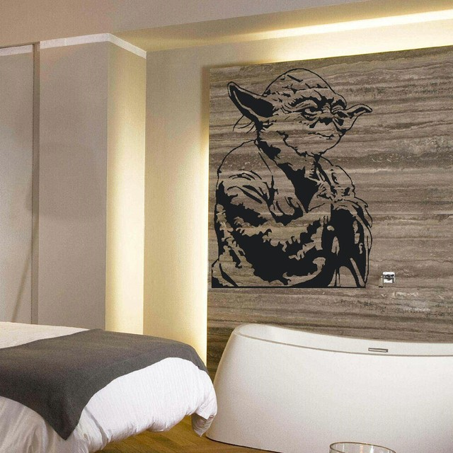 8 02 26 De Reduction Grand Yoda Star Wars Enfants Chambre Murale Autocollant Transfert Vinyle Coupe Decalcomanie Pochoir Decor A La Maison Dans