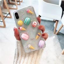 Cute 3D Glitter Macaron Silicon Phone Case for iPhone 7 Sweet ice cream chocolate beans Back Cover iphone 6 6s 8 Plus Cases