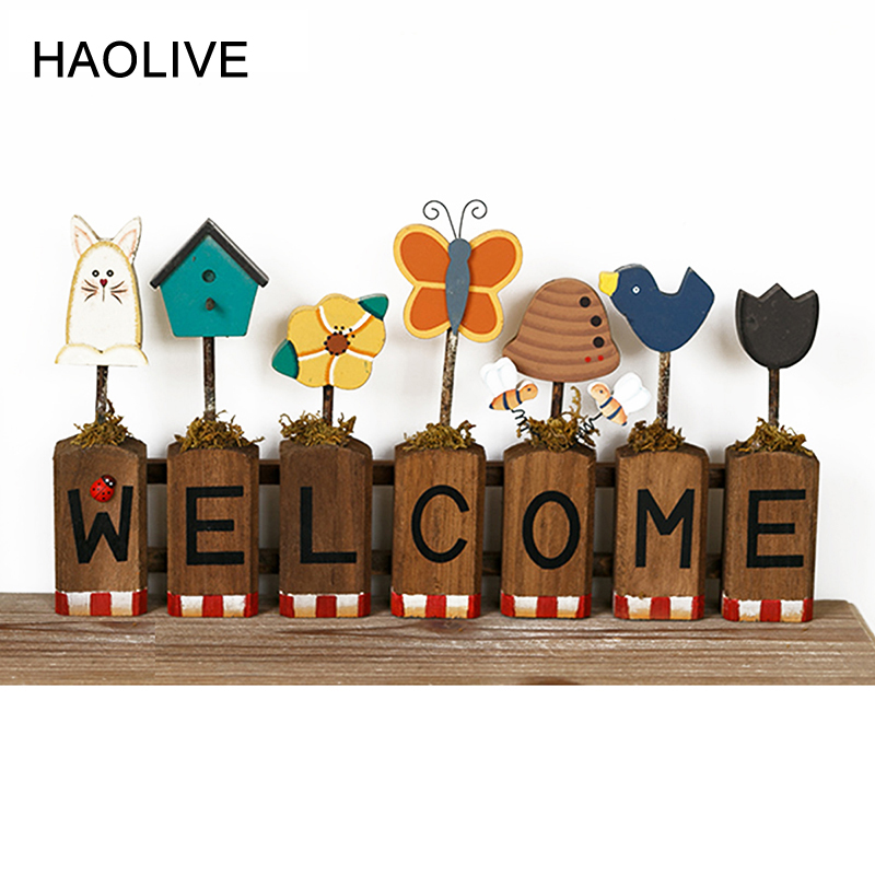 Hot Sale Haolive Wooden Welcome Letters Bee Butterfly Ornament
