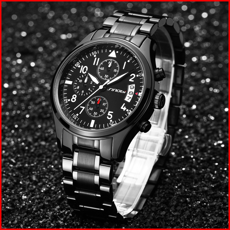 0c9f3318575 SINOBI Wristwatches Chronograph Men s Watches Date Waterproof Quartz Watch  for Male Sports Clock with Full Stainless