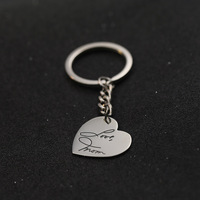 Personalized Handwritten Name Keychain mother's day christmas gift Customized Name Keychain with Love Heart 925 solid Silver