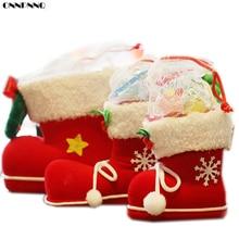 ONNPNNQ 1pc Big Christmas Flocking Boots Socks Candy Cookies Box Decor Supplies Gift