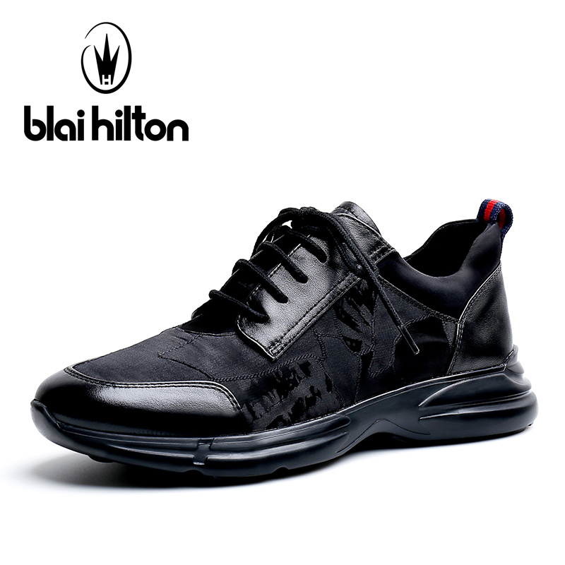 Blai Hilton 2018 New Fashion 100% Luxury Genuine Leather Spring/Autumn Men Shoes Breathable/Comfortable Men's Casual Mesh Shoes aiyuqi 2018 new spring genuine leather female comfortable shoes bow commuter casual low heeled mother shoes woeme
