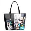 New Women Handbag Winter Sweet Ladies Printed Cartoon Tote Zipper Bags PU Leather Female Shoulder Bag With Small Clutch