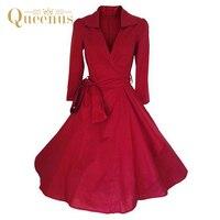 Queenus 2017 Otoño Invierno mujeres vestido V Masajeadores de cuello longitud de la rodilla Encaje up cinturón 3/4 rojo verde vendimia de las mujeres una línea vestido s-2xl
