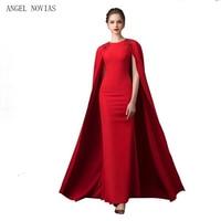 ANGEL NOVIAS Long Red Dubai Evening Dress 2018 with Shawl Mermaid Arabic Evening Gowns Kaftan Long Prom Dress With Cape