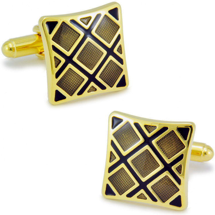 SPARTA High quality metal + Electroplate Enamel black checked pattern cufflinks men's Cuff Links + Free Shipping !!!