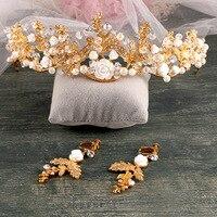Manufacturers Selling Handmade Crystal Crown Golden Tiara Baroque Bride Wedding Dress Wedding Jewelry Accessories
