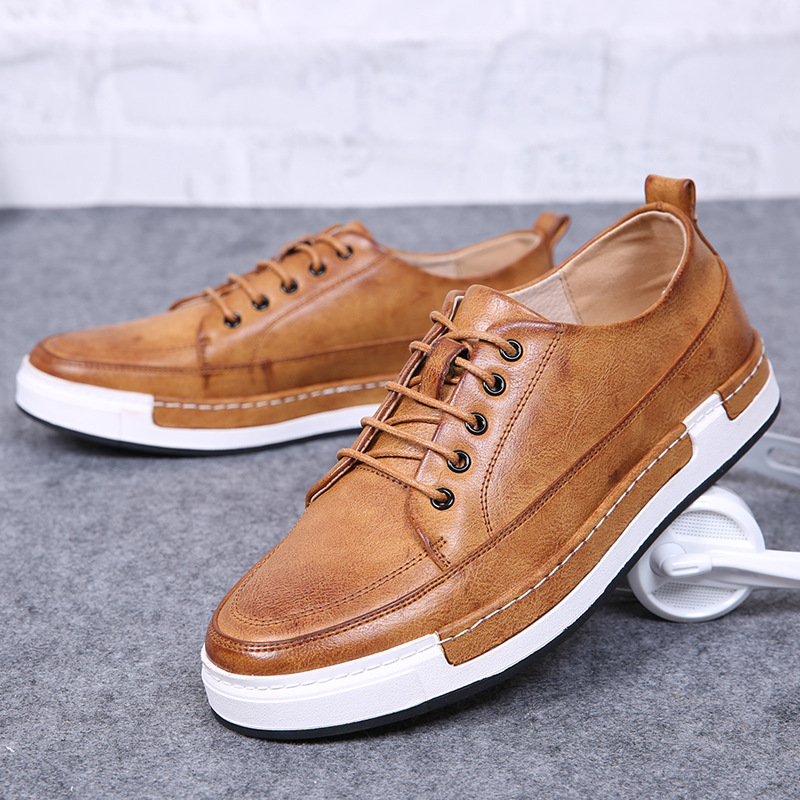 2017 Spring Autumn Period New Men Leisure Flat British Air Round Head Low Help Fashion Men's Shoes Leather Casual Shoes new 2015 spring brand camel fashion leisure men low flat wear resisting high quality leather high end shoes with box