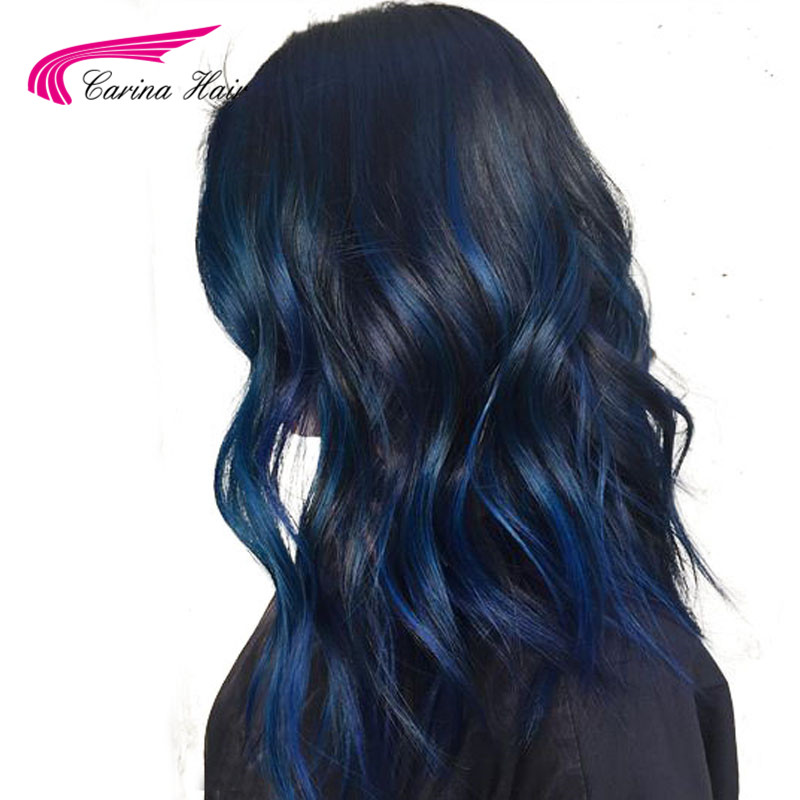 Carina Remy Preplucked Human Hair Lace Front Wigs Black Color Wig With Blue Highlights 13x6 Lace