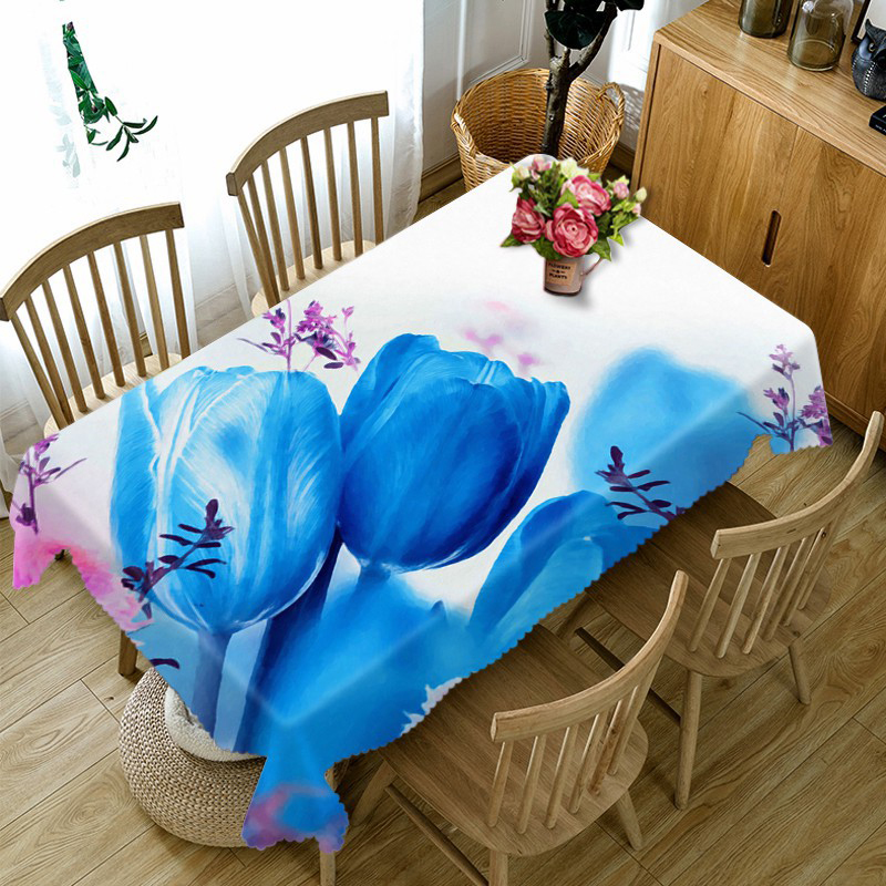 2018 Europe 3D Tablecloth Blue Demon Ji Flowers Pattern Dustproof Thicken Cotton Table cloth for Wedding Home textile 180*270cm