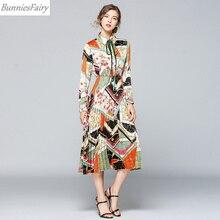 d37d0a8e64 BunniesFairy 2019 projektant elegancki lato kobiety z długim rękawem w  stylu Vintage łańcuch drukowane szyfonowa plisowana koszu.