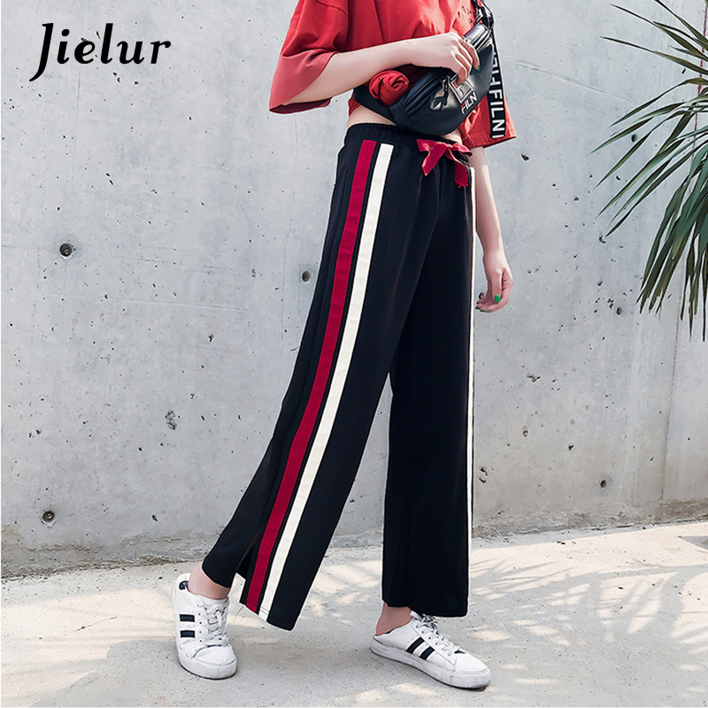 Jielur Side Split White and Red Stripe Trousers for Women Fashion Patchwork   Wide     Leg     Pants   Loose Straight Pantalon Femme M-XXL