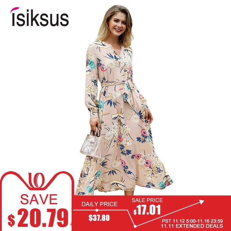 Isiksus Floral verano Maxi Vestido de manga larga, vestido Vintage verde blanco playa Tropical de Otoño de 2018 vestidos para las mujeres DR096