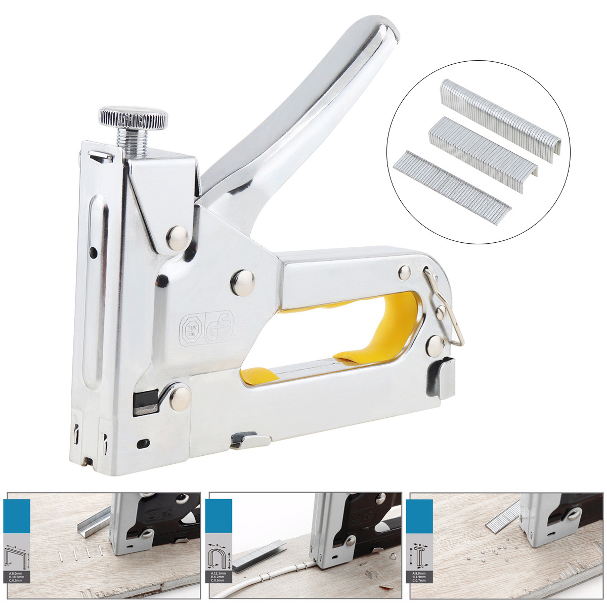 Three-purpose Manual Nail Staple Gun Furniture Stapler Upholstery Woodworking Tools With 600pcs Door-type U-type T-type Nails