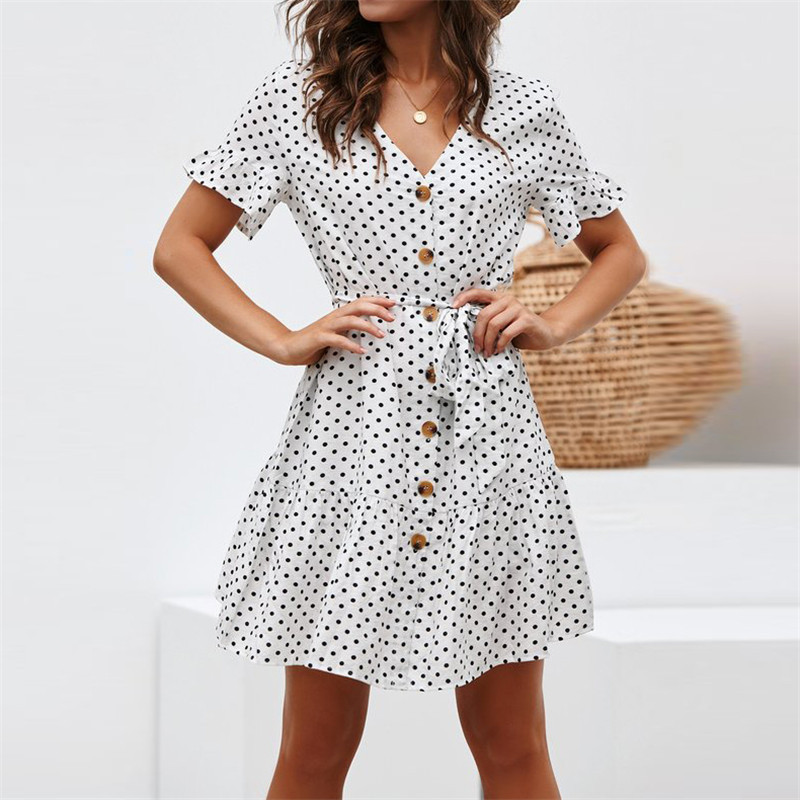 Loose V neck Ruffled Chiffon Polka Dot Women Dress 2019 Summer New Pure Color Lotus Sleeve Dresses Women 39 s Sexy Lace up Vestido in Dresses from Women 39 s Clothing