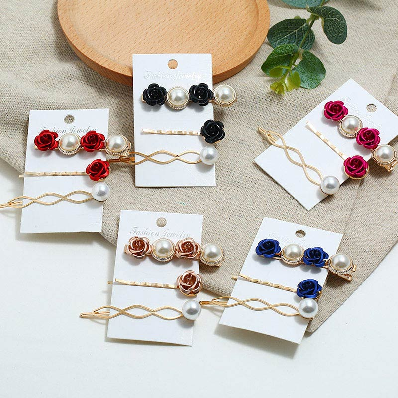 3 uds moda 2019 Imitiation Clip de perla para el cabello broches para las mujeres de las niñas hechas a mano flores perla horquillas accesorios para el cabello