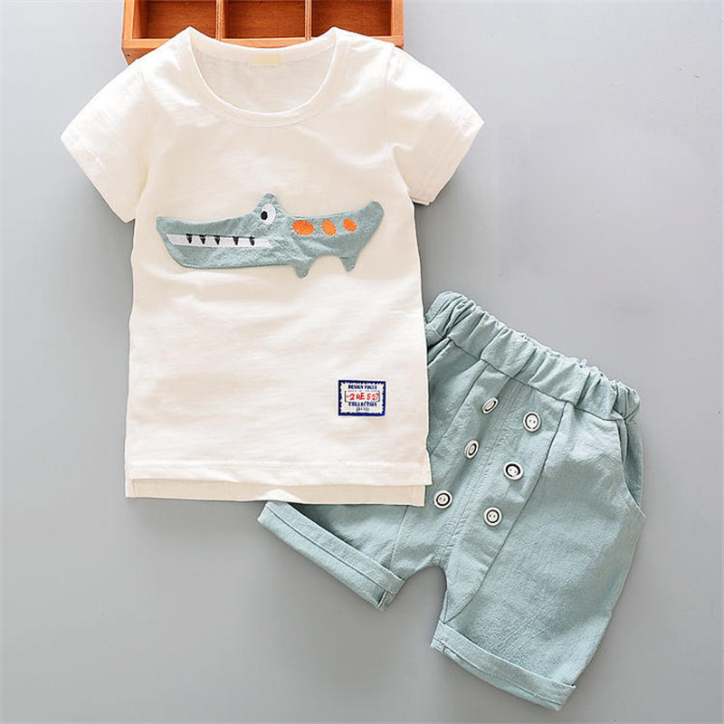 Bibicola Baby Clothing T-Shirt Outfits Shorts Crocodile Bebe White Fashion Children Kids title=