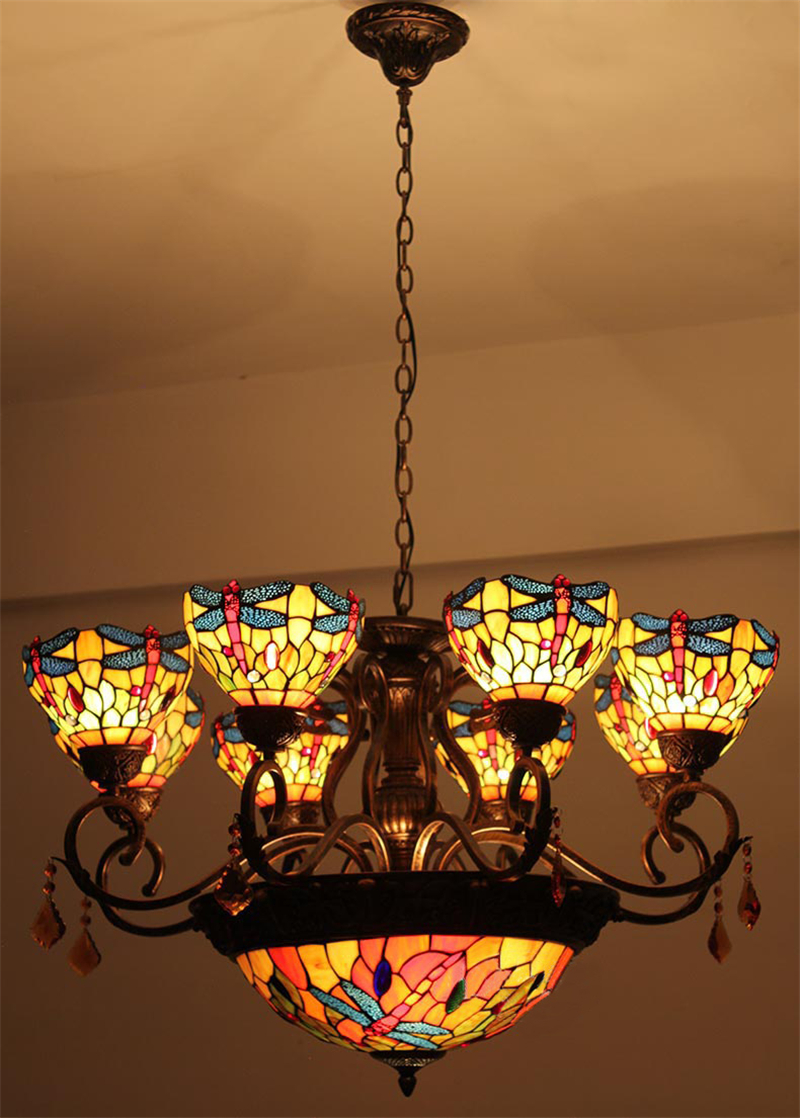 Fumat vintage tiffany lights creative american art dragonfly fumat vintage tiffany lights creative american art dragonfly chandeliers lobby mall living room stained glass led chandelier in pendant lights from lights arubaitofo Images