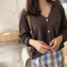 Brown Women Casual Sweater Spring Autumn Single Breasted Long Sleeve Knitted Sweaters for Ladies