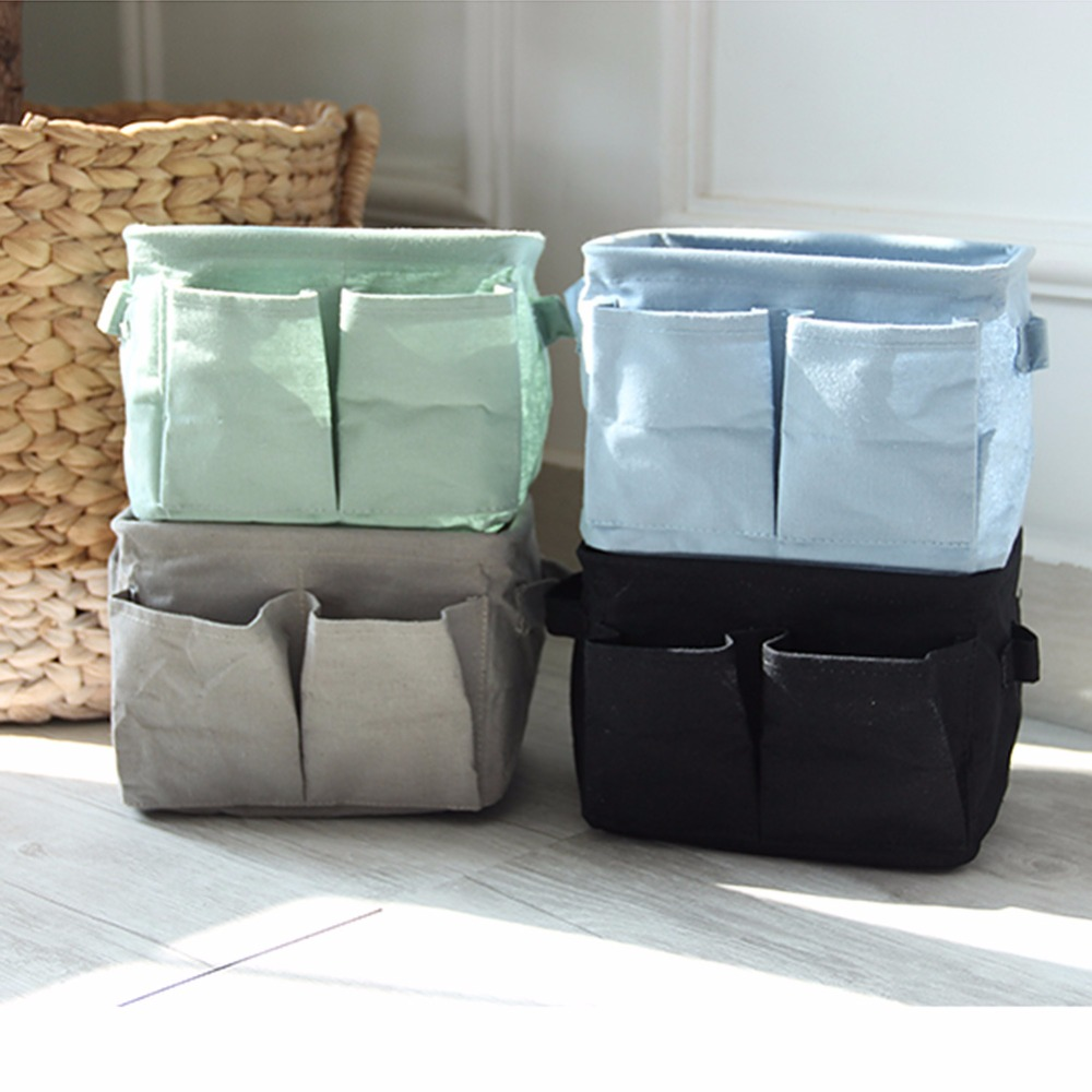 New Simple Double Pocket Pattern Linen Desk Storage Box Holder Jewelry  Cosmetic Stationery Organizer Bag #