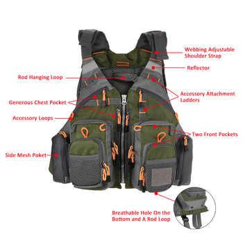 Lixada Fishing Vest Breathable Outdoor Sports Fly Swimming Life Safety Waistcoat Survival Utility Fly Vest Colete Salva-Vidas