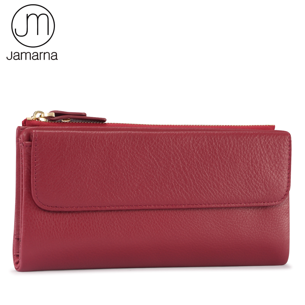 Jamarna Wallet Women Genuine Leather Long Clutch Women Purse With Zipper Pocket Phone Fashion Wallet Female Red Leather jamarna brand wallet female genuine leather long clutch women purse with phone holder women wallets fashion crocodile leather
