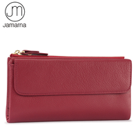 Jamarna Wallet Women Genuine Leather Long Clutch Women Purse With Zipper Pocket Phone Fashion Wallet Female Red Leather